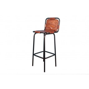 Tabouret assise cuir marron avec dossier Dong