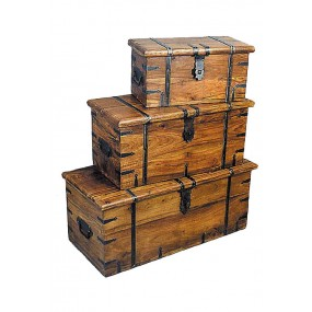 Set de 3 coffres ancien gigognes