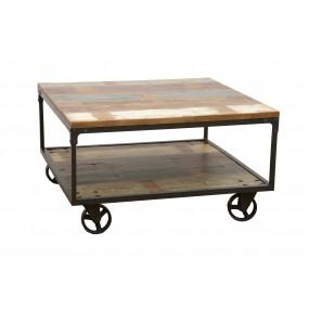 Table basse carrée sur roues fer Wolof