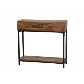 Meuble console bois et fer - finition naturelle foncée