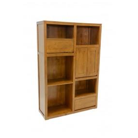 Bibliothèque double porte 2 tiroirs Sami