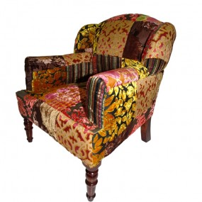 FAUTEUIL BABY MAHARAJA ROUGE / ROSE PATCH VELOURS 45x47x56CM