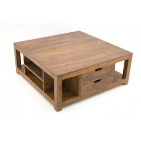 Table basse carrée multiples niches 2 tiroirs en bois