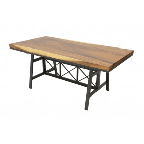 Table repas Wolof 1800X900X760 Plateau Acacia en forme libre de 5CM