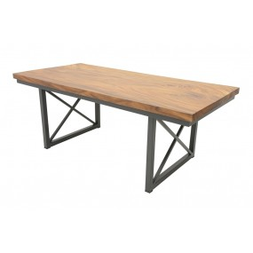 Table repas Wolof 2000X950X760 Plateau Acacia en forme libre de 5CM