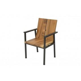 Chaise avec accoudoirs fer et bois 5CM