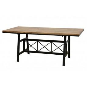 Table repas plateau bois structure fer croisé-  finition naturelle (180cm)