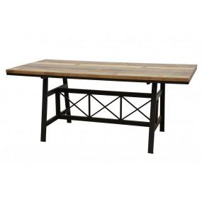 Table repas plateau bois structure fer croisé - finition recyclée (180cm)