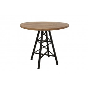 Table bois ronde de bar pied métal Eiffel finition naturelle