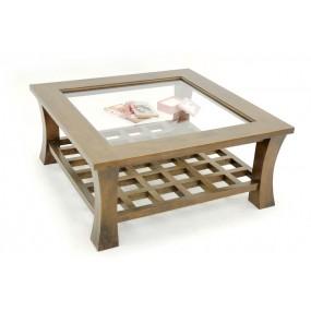 Table basse carrée vitrée Blang