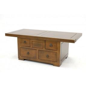 Table basse à rabat 5 tiroirs double face Hmong