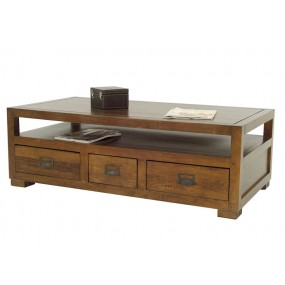 Table basse 3 tiroirs double face Teuton