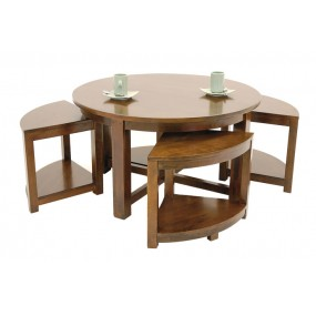 Table basse + 4 tabourets Moken