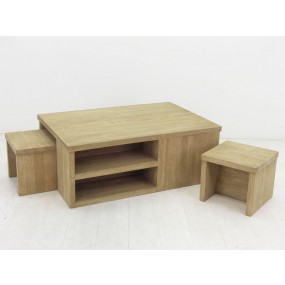 Table basse 2 tabourets Moken