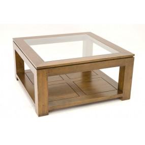 Table basse carrée petit modèle vitrée Maya
