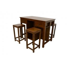 Table 90x60x90cm + 2 tabourets 60cm Bama